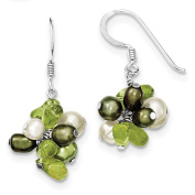 925 Sterling Silver Polished Peridot & Green Freshwater Cultured Pearl Dangle Earrings 10mm x 31mm