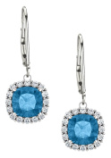Sterling Silver 1.70 Carat 6mm Genuine Blue Topaz & Created White Sapphire Leverback Halo Earrings
