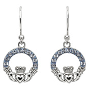 Hallmarked Sterling Silver Claddagh Earrings With Crystals