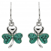 Hallmarked Sterling Silver Shamrock Earrings With Crystals