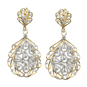 D'sire 18k Yellow and White Gold Diamond (TDW 3.144 carats) Dangle Earrings