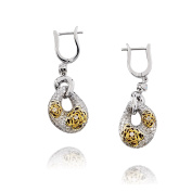 D'sire 18k Yellow and White Gold Diamond (TDW 0.914 carats) Dangle Earrings