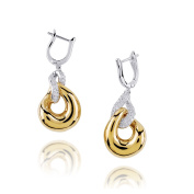 D'sire 18k Yellow and White Gold Diamond (TDW 0.617 carats) Dangle Earrings