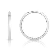 MCS Jewellery 14 Karat Solid White Gold Endless Hoop Earrings (Diameter