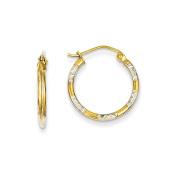 Genuine 14k & Rhodium Diamond Cut Hoop Earrings 19 x18mm