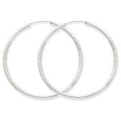 Genuine 14k White Gold 2mm Diamond-cut Endless Hoop Earrings 42 x2mm