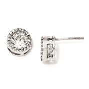 925 Sterling Silver Rhodium-plated Polished CZ Post Earrings 9mm x 9mm