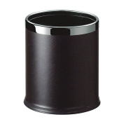 LUXEHOME Overlap Open Top Round Leather Metal Trash Can, Capacity 8 Litre/2 Gal, Looks Attractive Without Liners, Assorted Colour