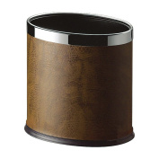 LUXEHOME Overlap Open Top Oval Leather Metal Trash Can, Capacity 8 Litre/2 Gal, Looks Attractive Without Liners, Assorted Colour