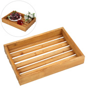 MyGift Wooden Slat Breakfast Serving Tray, Rectangular Display Stand, Grey