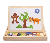LiangTing Wooden Magnetic Animal Puzzle Baby Toy with Easel Doodle Drawing Board