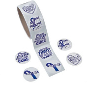 Purple Ribbon Relay Stickers 100 Per Roll, Support pancreatic cancer, Alzheimer's, lupus, animal abuse, Crohn's disease
