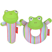 Totmart Frog Rattle Ring and Stick Bell Toy Set