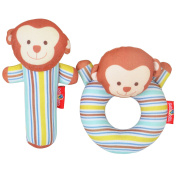 Totmart Monkey Rattle Ring and Stick Bell Toy Set