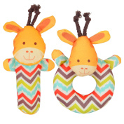 Totmart Giraffe Rattle Ring and Stick Bell Toy Set