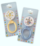 Jordache Infant Rattle Toy with Easy Grip - Set of 2 - Blue & Yellow