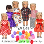 ZWSISU Super Value 6pcs 46cm American Girl Doll Clothes and 10pcdoll hair clips Fits American Girl Doll, Our Generation, Journey Girls Dolls