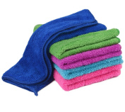 Zelta Kitchen Hand Towel Dish Cleaning Cloth with Hanging Loop, Super Water Absorption Double Deck Coral Fleece Random Colour 30cm x 41cm , 5 Pcs