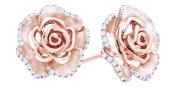 White Natural Diamond Flower Stud Earrings In 14K Gold Over Sterling Silver