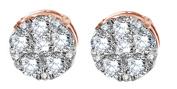 Natural Diamond Cluster Stud Earrings Solid 10k Rose Gold