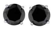 14K Solid Gold Round Cut Black Diamond Stud Earrings