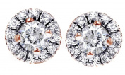 Round Diamond Stud Earrings Pave Halo Womens Earrings Brilliant Cut 14K Solid Gold