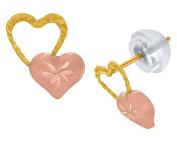 Double Heart Stud Earrings In 14K Solid Gold For Kid's