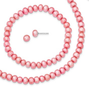 "925 Sterling Silver Rose 6-7mm Freshwater Cultured Pearl 18"" Necklace, Earrings & Stretch Bracelet Set"