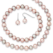 "Sterling Silver Pink Grey 7-8mm Freshwater Cultured Pearl 18"" Necklace, Earrings & Stretch Bracelet Set"