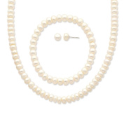 "925 Sterling Silver White 6-7mm Freshwater Cultured Pearl 18"" Necklace, Earrings & Stretch Bracelet Set"