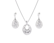G & H Fashion Filigree Drop Earrings and Pendant Necklace Set