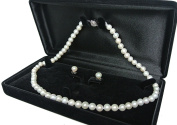 "20"" inch set Genuine 8-9mm 8mm 9mm ROUND White Strand Pearl Necklace Stud Earrings Cultured Freshwater"