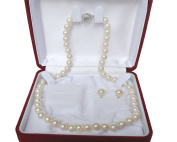 "16"" inch set Genuine 7-8mm 7mm 8mm ROUND White Strand Pearl Necklace Stud Earrings Cultured Freshwater"