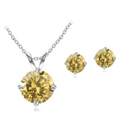 Sterling Silver Gemstone Round Solitaire Necklace & Stud Earrings Set