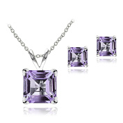 Sterling Silver Gemstone Square Solitaire Necklace & Stud Earrings Set