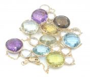 Multicolor Gemstones 90cm Necklace 14k Yellow Gold Chain by the yard