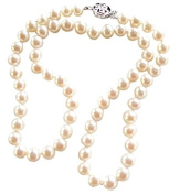 Women's Classic White 8-8.5mm Cultured Pearl Necklace Silver Clasp