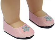Pink Glitter Dress Shoes - Light Pink Glitter Shoes, Fits 46cm American Girl Dolls, Doll Accessories by The New York Doll Collection