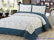 Bedding 3 Piece / Bedspread Bed Quilt Set / Embroidered / 2 Pillow Sham, Turquoise