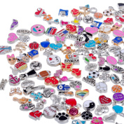RUBYCA Wholesale 100pcs Floating Charms Lot for DIY Glass Living Memory Locket Mix Silver Gold Colour