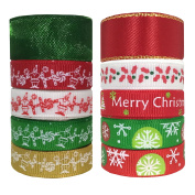 Duoqu Christmas Ribbon 10 Styles 42 Yards Mixed Style/Size ( 8x 4.5yd+2x 3yd=42yds, 1cm 1.6cm ) Printed Grosgrain Ribbon Satin Ribbon Snow Yarn for Holiday Hair Bows Gift Wrapping