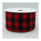 Wired Buffalo Plaid Ribbon, 6.4cm Wide x 10 Yards, Red Black Flannel