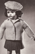 Vintage Knitting PATTERN to make - 46cm Doll Clothes Collection Sweater Pleated Skirt Jacket Beret Vest Panties. NOT a finished item. This is a pattern and/or instructions to make the item only.
