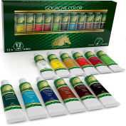 Gouache Paint Set - 12 x 12ml Tubes - Artist Quality Colours - for Art on Watercolour Paper, Illustration Board, Artboard & Masonite - Includes Black and White - Professional Supplies by MyArtscape