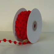 25 Yards Fuzzy Pom Pom Wired Trim Ribbon Lace - Red