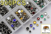 High Quality Bedazzler Supplies Rhinestone Stud Refills - Mixed Sizes and Colours - 900PCS