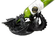 Atlantic Collectibles Black Saurian Armoured Dragon Decorative Wine Holder Rack Figurine 30cm Long