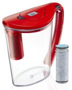 Brita 10 Cup Stream Filter as You Pour Water Pitcher with 1 Filter, Hydro, BPA Free, Chilli Red