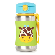 Skip Hop Baby Zoo Little Kid and Toddler Feeding Travel-To-Go Insulated Stainless Steel Straw Bottle, 350ml, Multi Jules Giraffe