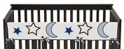 Sweet Jojo Designs Stars and Moons Long Front Rail Guard Baby Teething Cover Crib Protector Wrap